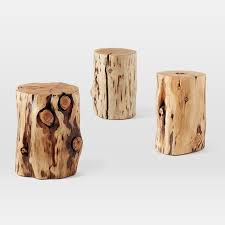 pleasant natural tree stump side table west elm