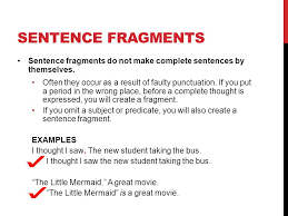 Sentence Fragment Examples Writing Age