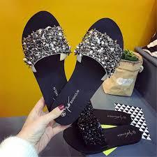 Designer Platform Flip Flops Summer Shoes Woman Rivet Glitter Designer Platform Sandals