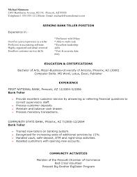 Bank Teller Resume Template New Sample Resume For A Bank Teller