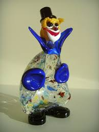murano glass glass clown with silver leaf