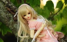 Wallpaper leaves, tree, doll, blonde ...