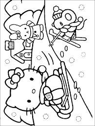 Small Picture Hello Kitty in the winter Coloring Page