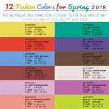 Pantone Color Chart 2018 Top 12 Pantone Colors For Spring 2018 With Hex And Cmyk Values