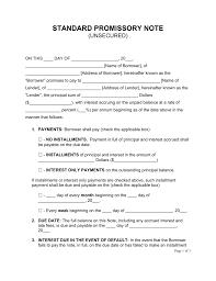 Demand Note Template Free Unsecured Promissory Note Template PDF Word EForms Free 2