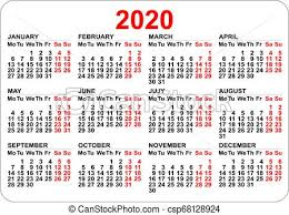2020 Year Calendar Grid Numbers Isolated On White