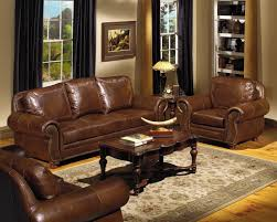 Mediteran Brown Leather Sofa Set Combined With Brown High Gloss