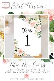 Table Number Design Wedding Table Number Cards Blush Florals Edit Online