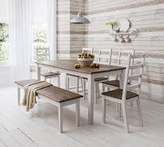 White Dining Table With Bench Chairs And Inspiration Picture 29270