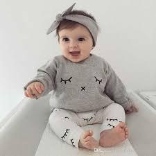 Images Baby Cute 2019 Spring Autumn Newborn Baby Boy Clothes Cute Eyelash Print Long
