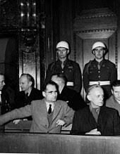 rudolf hess hess left and joachim von ribbentrop in the defendants box at the nuremberg trials