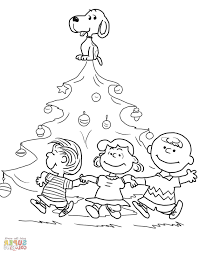 Snoopy Christmas Coloring Pages Mim5 Charlie Brown Christmas Tree