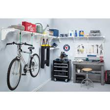 expandable garage shelf in white