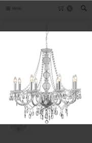 marie therese clear 8 light chandelier with crystal drops