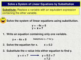 substitute replace a variable with an equivalent expression containing the other variable solve the system of linear equations