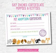 Pet Adoption Certificate Template Pet Adoption Certificate Puppy And Kitty Adoption Birthday Party Puppy Birthday Printable Certificate Instant Download