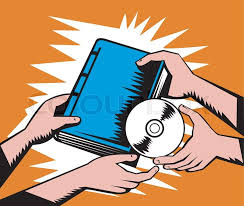 ilration of two pair of hands exchanging book and cd disk done in retro woodcut style stock vector colourbox