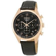 seiko ssb296p1 men s chronograph leather black dial