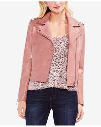 vince camuto pink faux leather moto jacket lyst