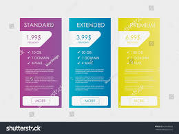 Web Banner Design Price Price List Hosting Plans Web Boxes Stock Vector Royalty