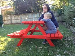 kid 039 s timber picnic table quot maxiquot coloured kids outdoor
