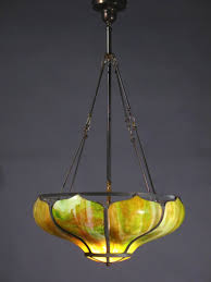 large arts and crafts art glass inverted dome