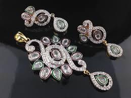 polki and american diamond pendant set indian kundan ic and gold jewelry in atlanta and