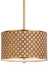 antique gold drum pendant light 16 w