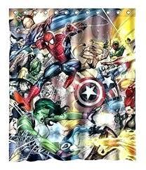 comic shower curtain curtains captain marvel bathrooms avengers book hook