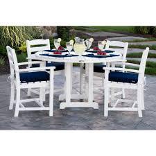 white patio furniture. POLYWOOD La Casa Cafa White 5-Piece Plastic Outdoor Patio Dining Set With Sunbrella Navy Furniture W