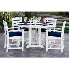 polywood la casa cafa white 5 piece plastic outdoor patio dining set with sunbrella navy