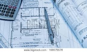 architecture blueprints. Architecture Blueprints And House Remodeling Plans On The Table Technical Pencil. Architectural Design