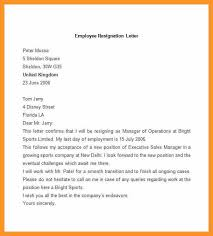 sample letter employee employment resignation letter sample bio letter format
