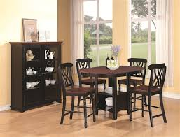 cameron 5 pc cottage counter height round pedestal table set in black dark cherry finish