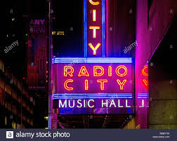 Outside Neon Lights Outside Neon Lights Of Radio City Music Hall In New York