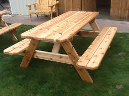 amazing picnic table with attached benches build wooden picnic table vintage woodworking projects