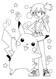 coloring pages of pikachu coloring pages and ash cute page misty pokemon pikachu coloring pages printable