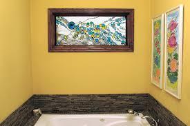 kitchen bathroom windows incorporate custom stained glass