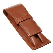 universal 2 pen double pencil case crazy horse coffee fountain pen roller pu leather case bag cod
