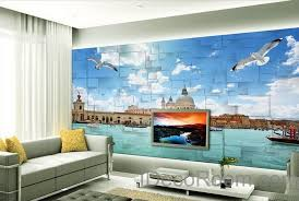 office deco. 3D Seagull River Venezsia View Wallpaper Wall Decals Art Print Mural Home Decor Indoor Bussiness Office Deco