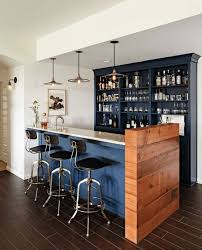 ideas navy blue bar triple black bar stools dark brown flooring simple lighting white wall