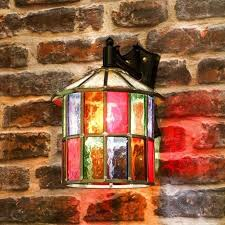 dulverton leaded stained glass outdoor wall lantern