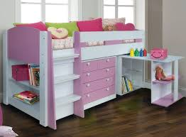 white mid sleeper bed pink girls mid sleeper bed in