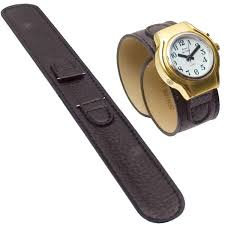 reizen black leather wrap around watch band mens
