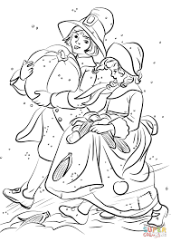 Small Picture Pilgrim Boy and Girl Carrying Pumpkin and Corns coloring page