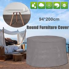 waterproof grey round patio table cover garden yard outdoor furniture protection
