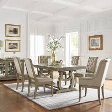 Nailhead dining chairs dining room Tufted Nailhead Maizy Trestle Base Dining Table With Extending Leaf With Cream Tufted Nailhead Dining Chair By Inspire Calmbizcom Shop Maizy Trestle Base Dining Table With Extending Leaf With Cream