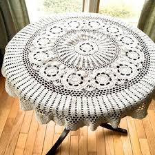 round crochet tablecloth 39 diameter doily pale cream crocheted doily small round