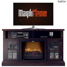 oak media center electric fireplace wall mantel tv stand w realistic fireplace insert