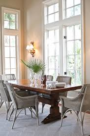 good looking trestle table in dining room beach style with benjamin moore manchester tan next to glass table bases alongside center island with stove and